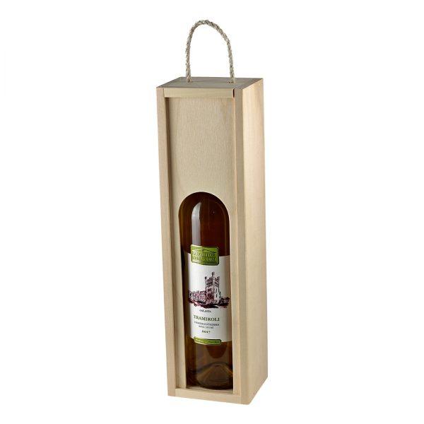 Drevenná kazeta na 1 fľašu vína, zatvorená, otvor s klenbou, Promitor Vinorum | regioWine