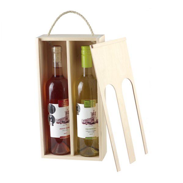 Drevenná kazeta na 2 fľaše vína, zatvorená, otvor s klenbou, Promitor Vinorum | regioWine