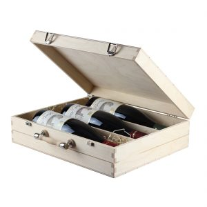 Drevenná kazeta na 3 fľaše vína v tvare kufru, Promitor Vinorum | regioWine