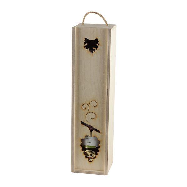 Drevenná kazeta na 1 fľašu vína, zatvorená, otvor v tvare lístkov, Promitor Vinorum | regioWine