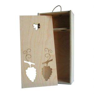 Drevenná kazeta na 2 fľaše vína, zatvorená, otvor v tvare lístkov, Promitor Vinorum | regioWine