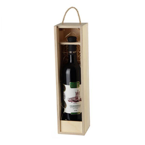 Drevenná kazeta na 1 fľašu vína, otvorená s čelom | Promitor Vinorum