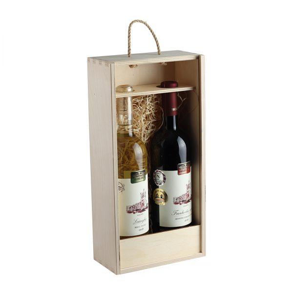 Drevenná kazeta na 2 fľaše vína, otvorená s čelom | Promitor Vinorum