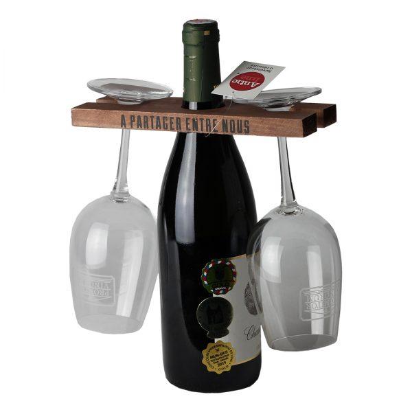 Drevenný držiak na fľašu a 2 poháre, Antic Line | regioWine