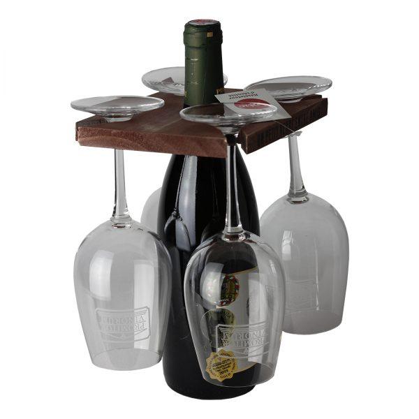 Drevenný držiak na fľašu a 4 poháre, Antic Line | regioWine