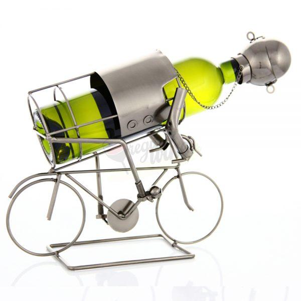 Kovový stojan na víno s motívom Cyklista, Promitor Vinorum | regioWine
