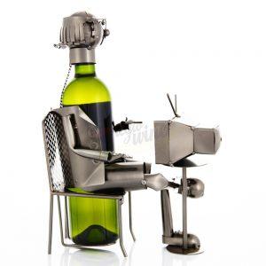 Kovový stojan na víno s motívom Dôchodca, Promitor Vinorum | regioWine