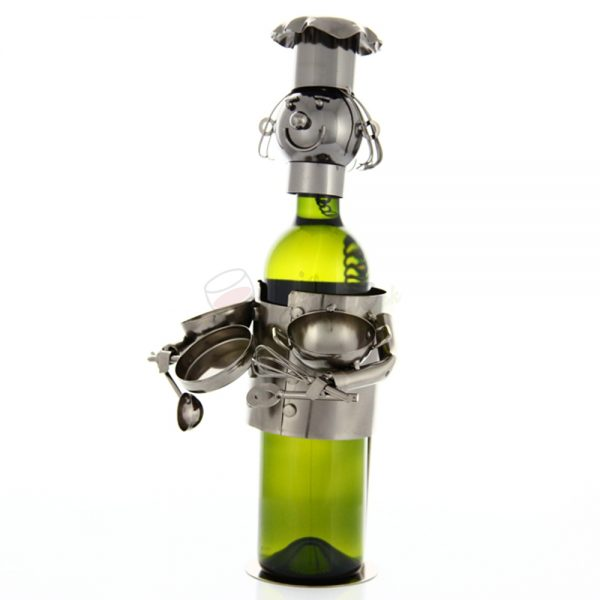 Kovový stojan na víno s motívom Kuchár s riadom, Promitor Vinorum | regioWine
