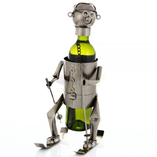 Kovový stojan na víno s motívom Lyžiar, Promitor Vinorum | regioWine