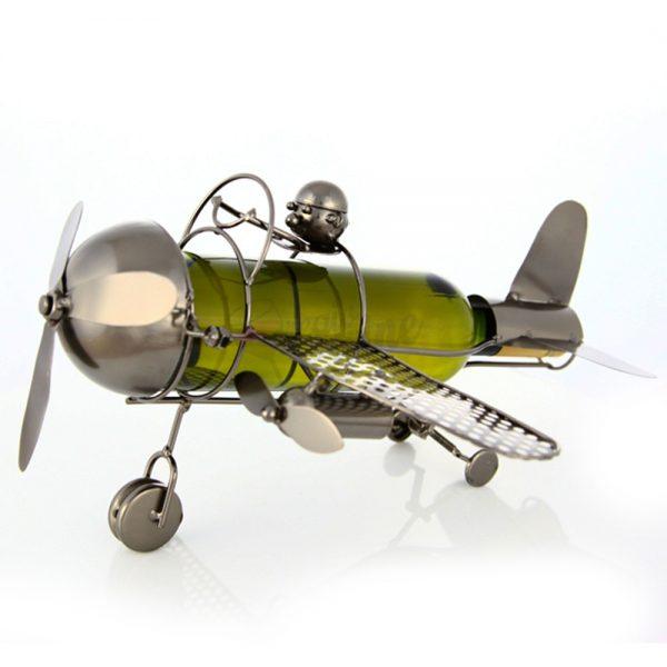 Kovový stojan na víno s motívom Lietadlo s pilotom, Promitor Vinorum   regioWine
