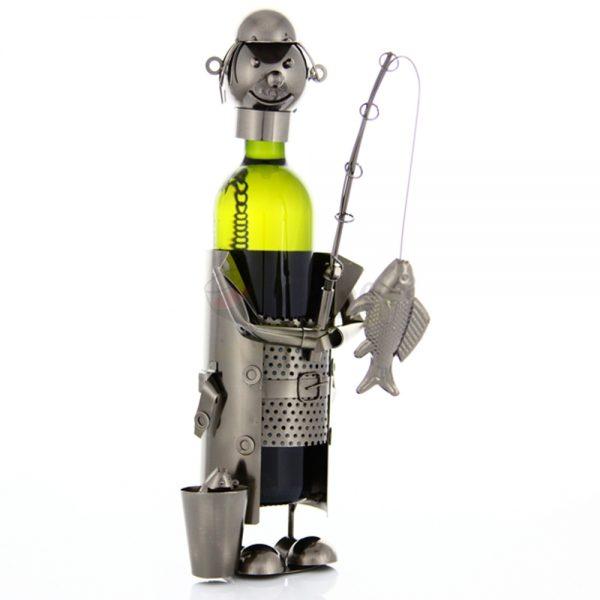 Kovový stojan na víno s motívom Rybár, Promitor Vinorum | regioWine