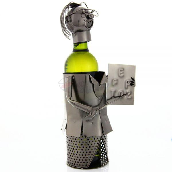 Kovový stojan na víno s motívom Učiteľ s tabuľou, Promitor Vinorum | regioWine