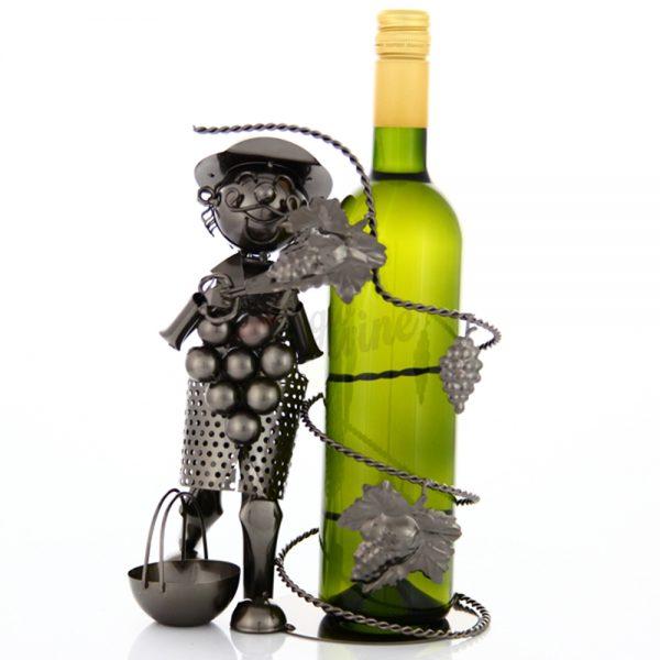 Kovový stojan na víno s motívom Vinár s vinicou, Promitor Vinorum | regioWine