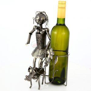 Kovový stojan na víno s motívom Dievča so psom, Promitor Vinorum | regioWine